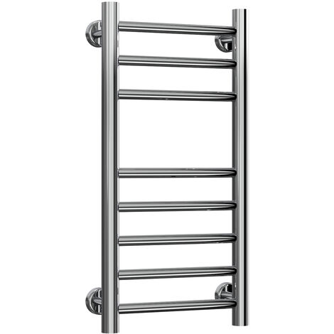 Reina Luna Flat Polished Straight Stainless Steel Heated Towel Rail 600mm x 300mm Electric Only - Thermostatic