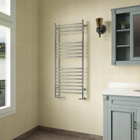 Reina Luna Straight Heated Towel Rail 1200mm H x 500mm W Stainless Steel