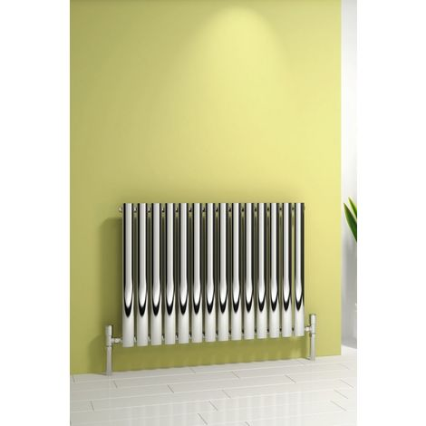 """main image of """"Reina Nerox Stainless Steel Polished Horizontal Designer Radiator 600mm x 413mm Single Panel Electric Only-Thermostatic"""""""