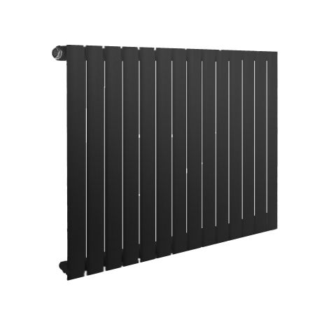 Reina Neva Single Panel Black Horizontal Designer Radiator 550mm x 826mm