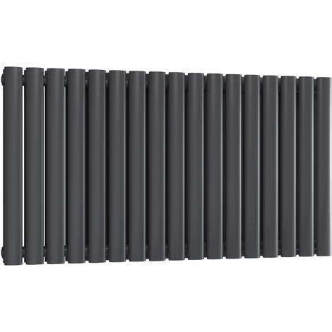 Reina Neva Steel Anthracite Horizontal Designer Radiator 550mm x 1003mm Double Panel Central Heating