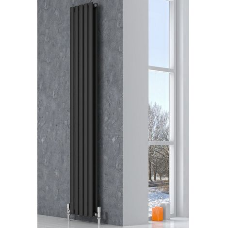 Reina Neva Steel Anthracite Vertical Designer Radiator 1500mm x 236mm Double Panel