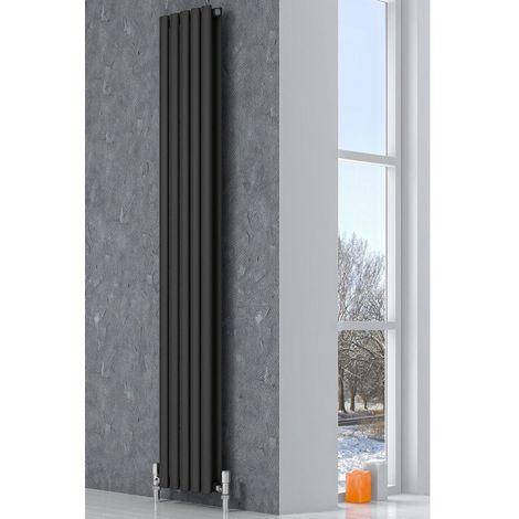 Reina Neva Steel Anthracite Vertical Designer Radiator 1500mm x 531mm Double Panel