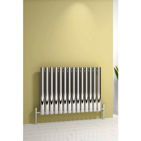 Reina Neva Steel Chrome Horizontal Designer Radiator 550mm x 413mm Single Panel Central Heating