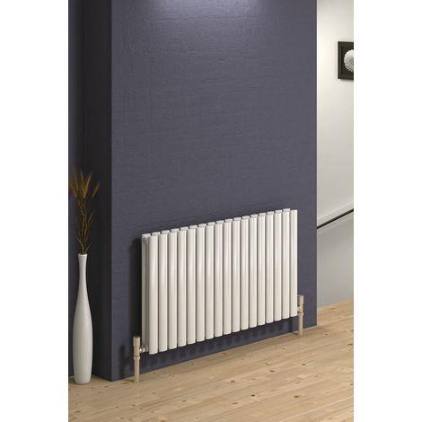 Reina Neva Steel White Horizontal Designer Radiator 550mm x 590mm Single Panel Central Heating