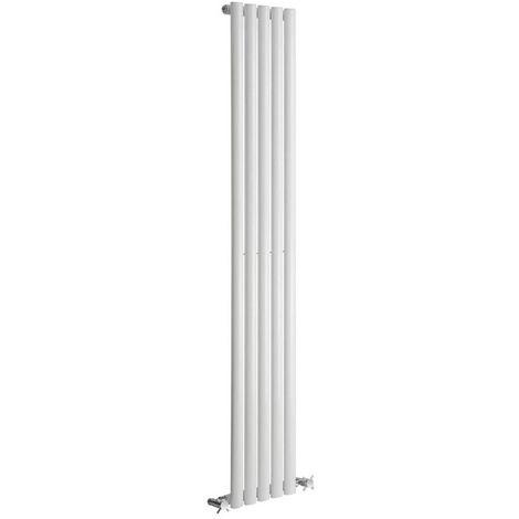 Reina Neva Steel White Vertical Designer Radiator 1500mm x 531mm Single Panel