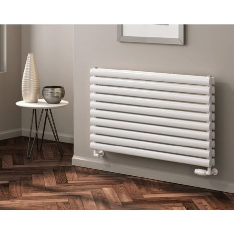 Reina Nevah Anthracite Horizontal Designer Radiators 590mm x 800mm Double Panel Electric Only - Thermostatic
