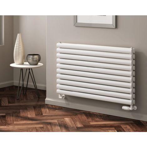 Reina Nevah White Horizontal Designer Radiators 590mm x 600mm Double Panel Central Heating
