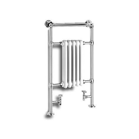 Reina Oxford Steel Floor Standing Traditional Heated Towel Rail 960mm x 538mm Chrome and White