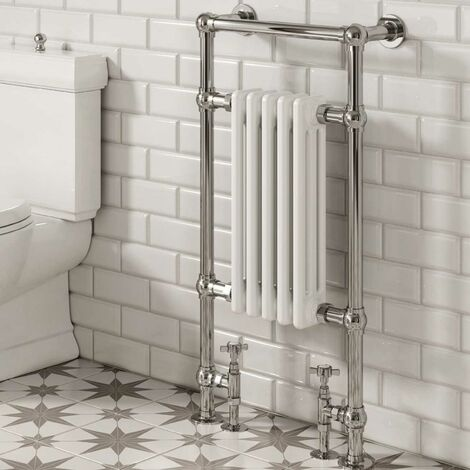 Reina Oxford Traditional Radiator Heated Towel Rail 960mm H x 536mm W White/Chrome