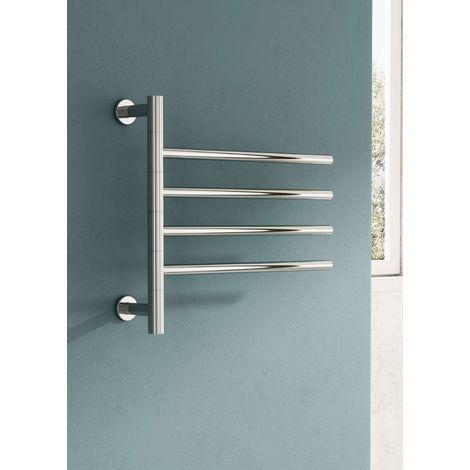 Reina Rance Straight Stainless Steel Heated Towel Rail 475mm H x 500mm W Polished Electric Only