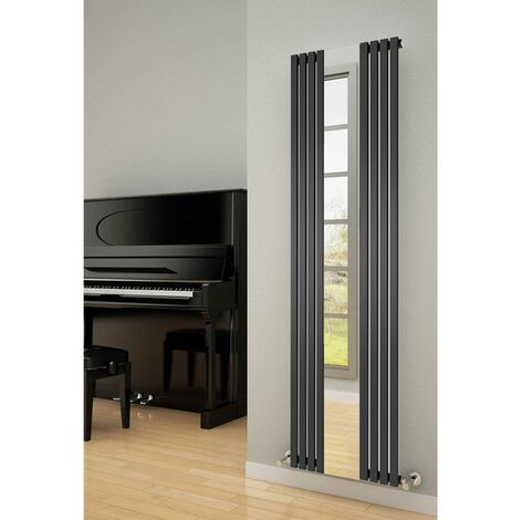 Reina Reflect Mirrored Designer Vertical Radiator 1800mm H x 449mm W Black/Mirror