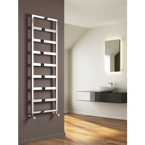 Reina Rezzo Steel Chrome Designer Heated Towel Rail 740mm x 550mm - Central Heating