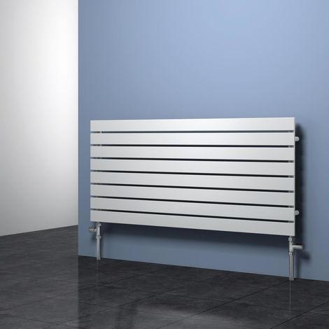 Reina Rione White Horizontal Designer Radiators 544mm x 1400mm Single Panel Duel Fuel - Thermostatic