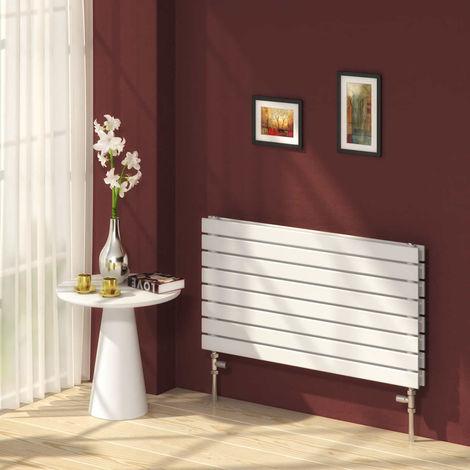 Reina Rione White Horizontal Designer Radiators 544mm x 400mm Double Panel Duel Fuel - Thermostatic