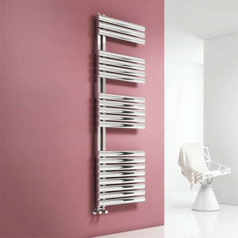 Reina Scalo Designer Heated Towel Rail 1120mm H x 500mm W Brushed Stainless Steel
