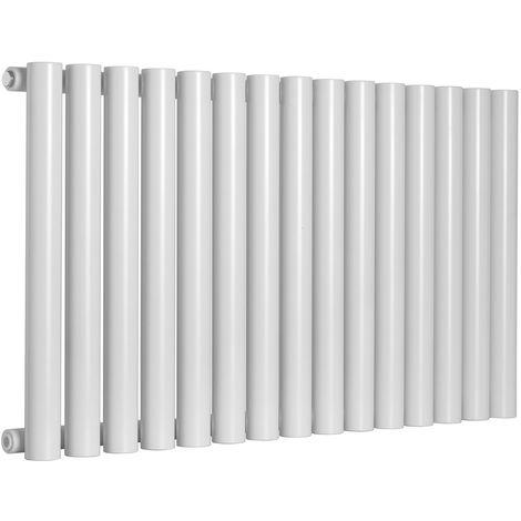 Reina Sena White Horizontal Designer Radiators 550mm x 395mm Single Panel Duel Fuel - Thermostatic