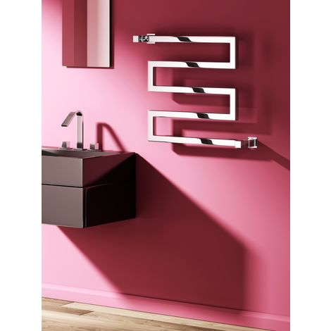 Reina Serpe Steel Anthracite Designer Heated Towel Rail 510mm x 500mm - Electric Only Thermostatic