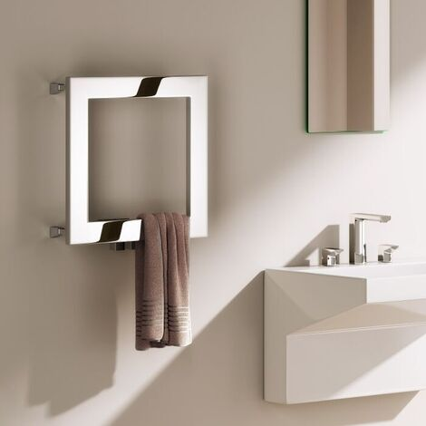 Reina Square Designer Heated Towel Rail 450mm H x 450mm W Polished Stainless Steel