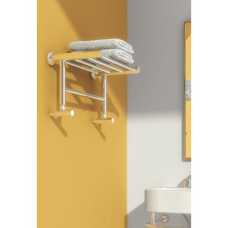 Reina Troisi Polished Stainless Steel Designer Heated Towel Rail 294mm x 532mm Electric Only - Thermostatic