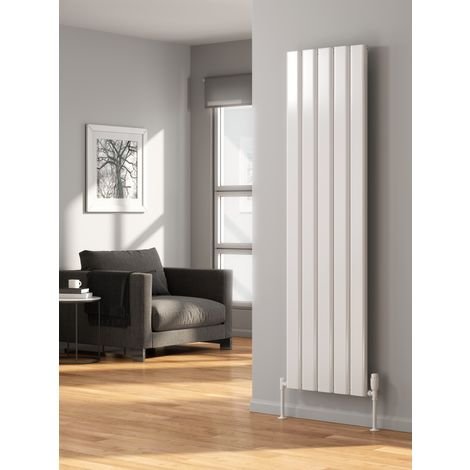 Reina Vicari Aluminium White Single Panel Vertical Designer Radiator 1800mm x 300mm - Central Heating
