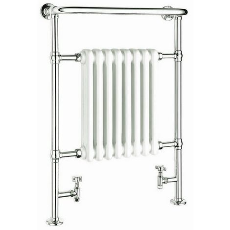 Reina Victoria Steel Floor Standing Traditional Heated Towel Rail 960mm x 675mm Chrome and White