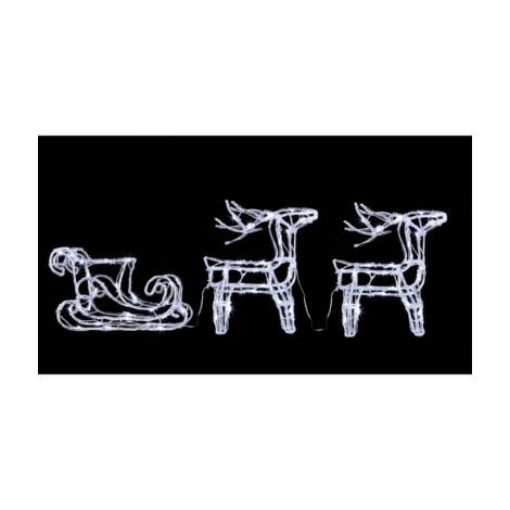 Reindeer and Sleigh Acrylic Character with 80 White LED's