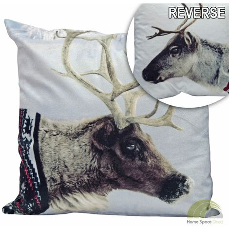 Reindeer Christmas Cushion Cover Square Scatter Case Novelty Funky Xmas Animals