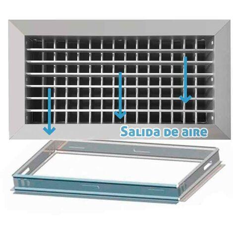 Rejilla de ventilación impulsión doble deflexión plata mate+Marco de montaje -Disponible en varias versiones