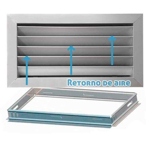 Rejilla de ventilación retorno plata mate + Marco de montaje -Disponible en varias versiones