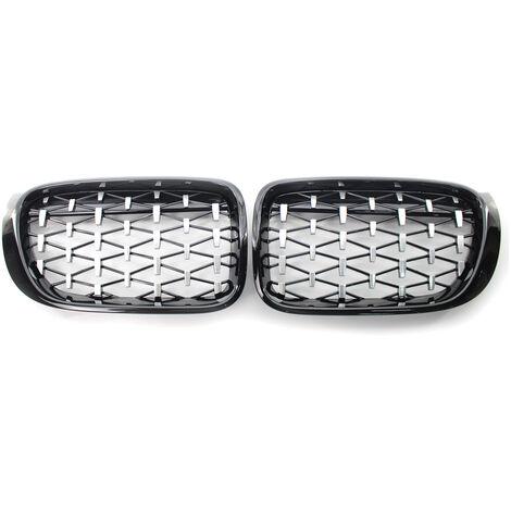 "main image of ""Rejilla delantera de coche, rejilla, malla, cubierta de tira de ajuste, doble l¨ªnea, reemplazo para BMW X3 X4 F25 F26 2014-2017,Galvanizar"""