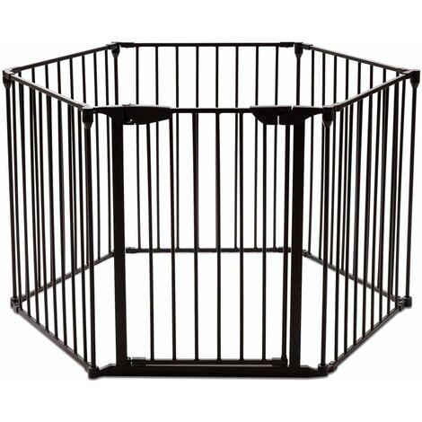 Rejilla para Chimenea Metal Plegable Niño Bebé Perro Seguridad Puerta Escalera Protección 3,8Metros (Negro)