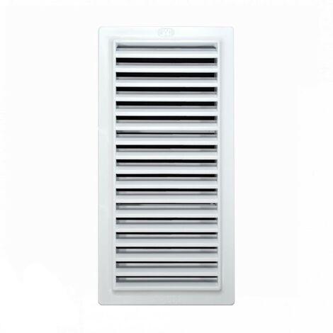 Rejilla ventilación baño PVC 9.8x22.5 cm con marco - Blanco