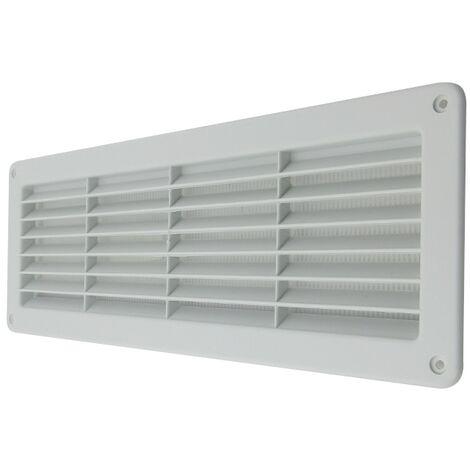 Rejilla ventilación de plástico 370x123 mm con malla anti insectos
