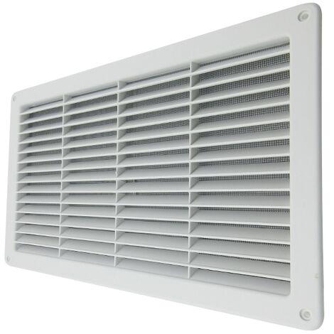 Rejilla ventilación de plástico 370x223 mm con malla anti insectos