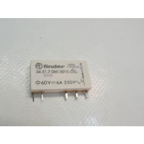 Relais circuit imprimé embrochable 6A 60VDC 1 contact inverseur 1RT lavable AGNI épaisseur 5mm FINDER 345170600010
