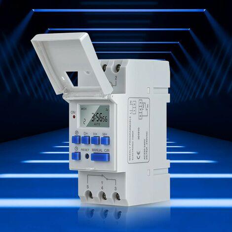 Relais Minuterie, AC 220V Minuterie Montée sur Rail, Numérique LCD Affichage Programmable Minuterie Industrielle, 16 Groupes de Commutation pour Minuteries Électroniques pour Appareils Électroménagers