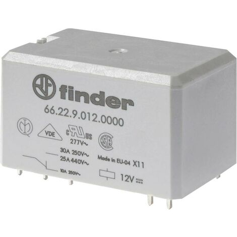 Relais pour circuits imprimés Finder 66.22.9.024.0000 662290240000 24 V/DC 25 A 2 inverseurs (RT) 1 pc(s)