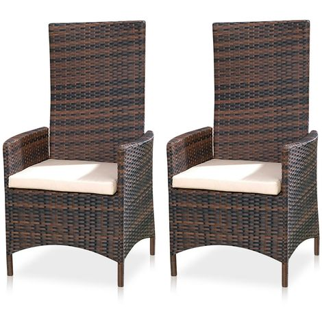 Relax chair Polyrattan Garden adjustable Garden furniture Balcony Seating furniture Set of 2