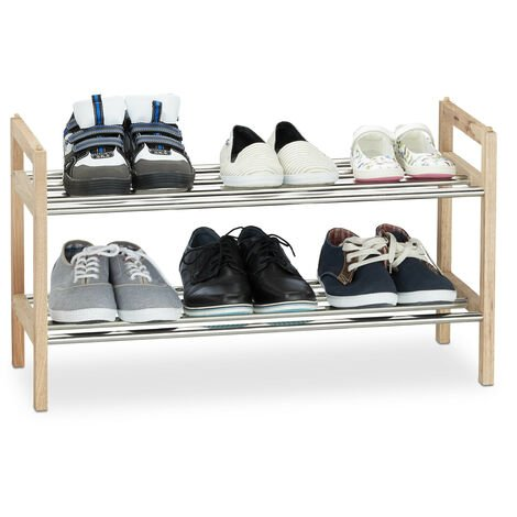"""main image of """"Relaxday Shoe Rack Walnut 12 Shoes, 6 Pair, Stainless Steel, Stackable Rack, H x W x D: 41 x 72 x 27 cm, Natural Wood"""""""