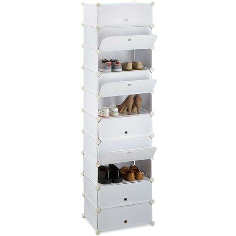 """main image of """"Relaxdays 10 Tier Shoe Rack, Large Shoe Cabinet, Stacking Shoe Organizer, Space-Saver, app. 176 x 49 x37 cm, White"""""""