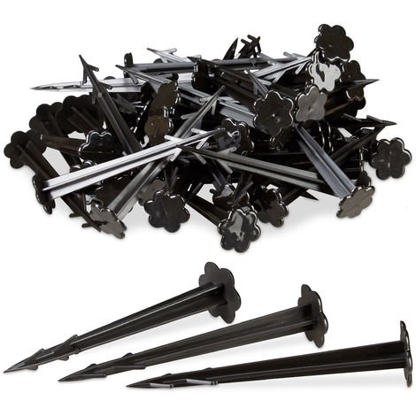 Relaxdays 11 cm Plastic Securing Pegs, Anchor Pins Set of 100, Weed Control Fabric Stakes, Black