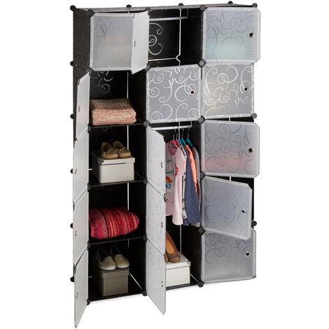 Relaxdays 11-Compartment Shelving Unit Wardrobe, Modular Plug-In Plastic Shelf, 2 x Clothes Rails, Black