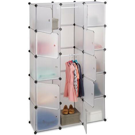 Relaxdays 11-Compartment Shelving Unit Wardrobe, Modular Plug-In Plastic Shelf, 2 x Clothes Rails, Transparent