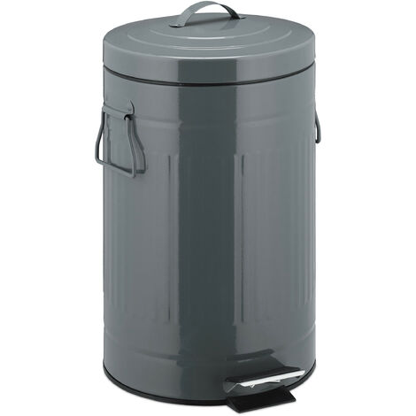 """Relaxdays 12 L """"Retro"""" Pedal Bin,Includes inside Bucket with Handle, Stainless Steel Hands-free Trashcan, Grey"""