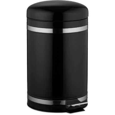 Relaxdays 12L Pedal Bin, Bin Liner with Handle, Kitchen Waste Bin, Trash Can, Stainless Steel, Black