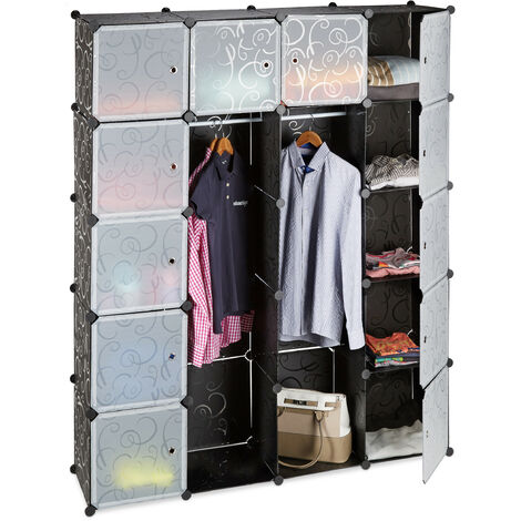 Relaxdays 14-Compartment Shelving Unit Wardrobe, Modular Plug-In Plastic Shelf, 2 x Clothes Rails, Black