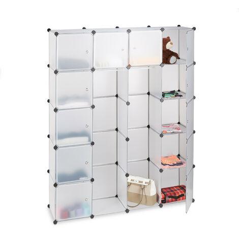Relaxdays 14-Compartment Shelving Unit Wardrobe, Modular Plug-In Plastic Shelf, 2 x Clothes Rails, Transparent