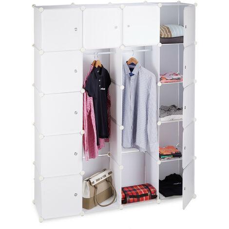Relaxdays 14-Compartment Shelving Unit Wardrobe, Modular Plug-In Plastic Shelf, 2 x Clothes Rails, White