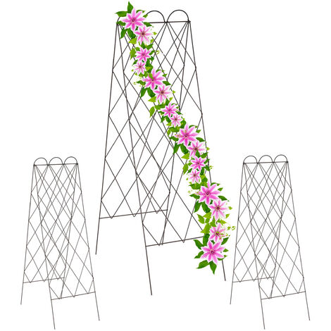 Relaxdays 2-fronted trellis, set of 3 metal garden lattices, climbing plants, 152 cm high, free-standing, red-brown